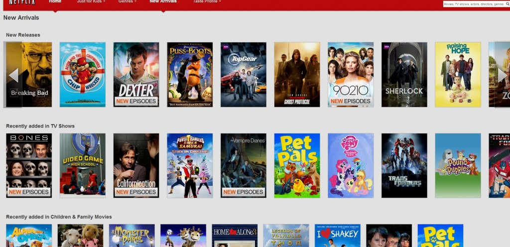 Netflix.com new arrivals as of Jan 4th 2013, the Canadian version.