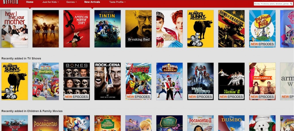 Netflix.com new arrivals as of Jan 4th 2013, the US version.